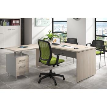 Work Uno - Mesa de oficina en L work uno con buc 3 cajones - Imagen 2