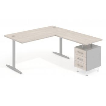 Work Due - Mesa de escritorio en L work due con cajonera 3 cajones estructura aluminio - Imagen 1
