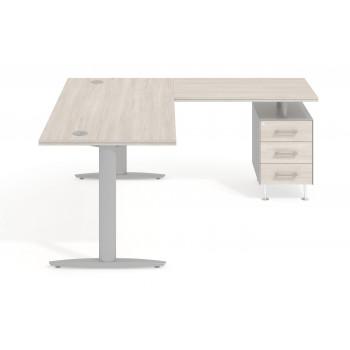 Work Due - Mesa de escritorio en L work due con cajonera 3 cajones estructura aluminio - Imagen 2