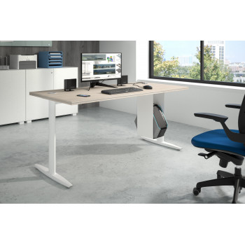 Work Due - Mesa de escritorio work due fondo 80 estructura blanca - Imagen 2