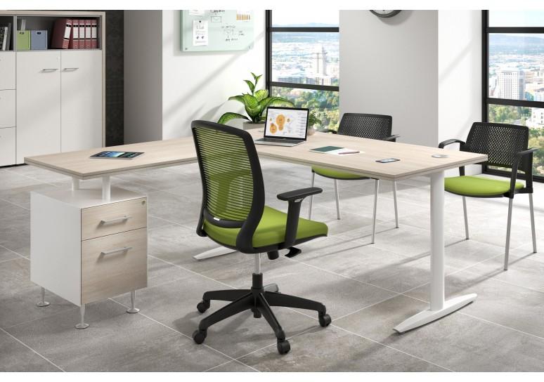 Mesa de escritorio en L work due con cajonera cajon/archivo estructura blanca