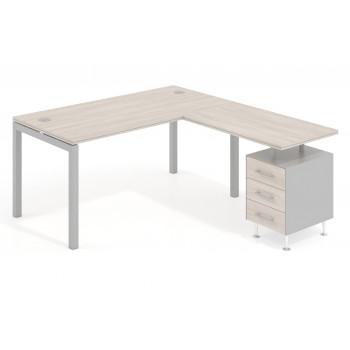 Work Quatro - Mesa de oficina con ala Work Quattro buc 3 cajones estructura aluminio - Imagen 1