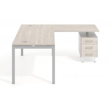 Work Quatro - Mesa de oficina con ala Work Quattro buc 3 cajones estructura aluminio - Imagen 2