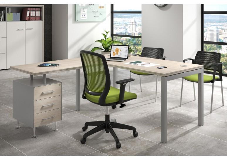 Mesa de oficina con ala Work Quattro buc 3 cajones estructura aluminio