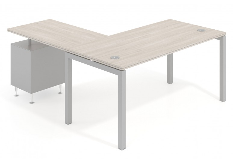Mesa de oficina con ala Work Quattro buc cajon/archivo estructura aluminio