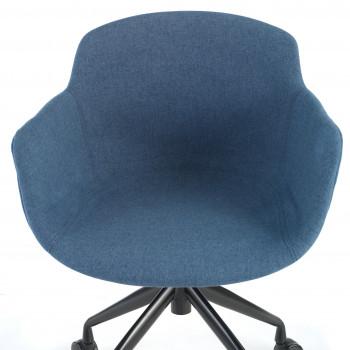Ivonne - Silla confidente Ivonne Giratoria Ruedas Asiento Tapizado Azul - Imagen 2