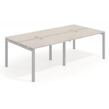 Work Quatro - Mesa bench doble serie Work Quattro fondo 123 estructura aluminio - Imagen 1
