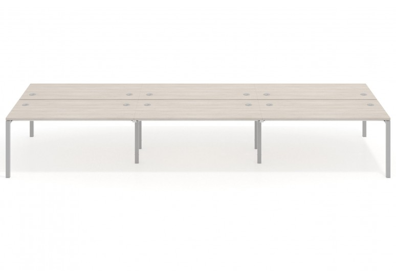 Mesa bench triple serie Work Quattro fondo 163 estructura aluminio