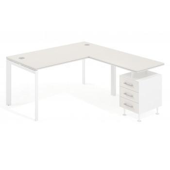 Work Trio - Mesa de oficina con ala Work Trio buc 3 cajones estructura blanca - Imagen 1