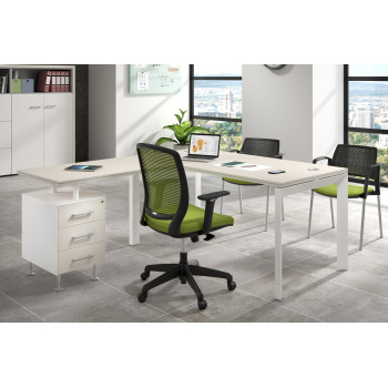 Work Trio - Mesa de oficina con ala Work Trio buc 3 cajones estructura blanca - Imagen 2