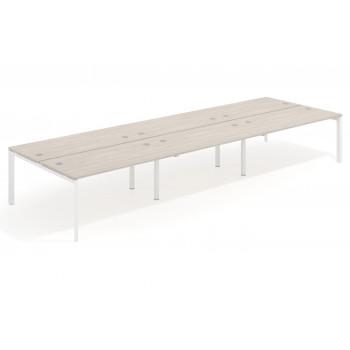 Work Trio - Mesa bench triple serie Work Trio fondo 163 estructura blanca - Imagen 1