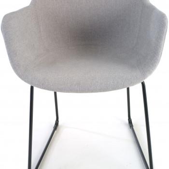 Ivonne - Silla confidente Ivonne patín Asiento Tapizado gris - Imagen 2
