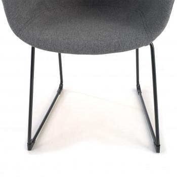 Ivonne - Silla confidente Ivonne patín Asiento Tapizado negro - Imagen 2