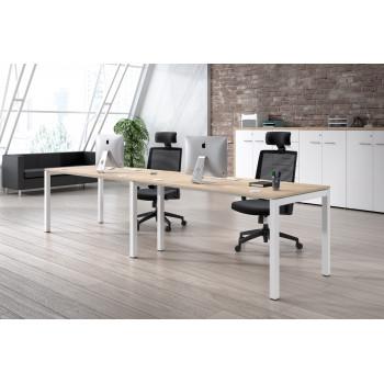 Kubika - Mesa de oficina progresiva doble Kubika estructura blanca - Imagen 2