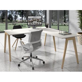 Forest - Mesa de escritorio con ala forest, estructura madera maciza - Imagen 2