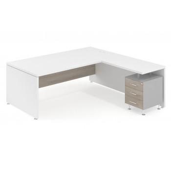 Manager - Mesa de dirección con ala Manager corrida y buc 3 cajones estructura aluminio - Imagen 1