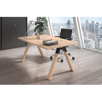 Uve - Mesa de escritorio Uve estructura madera - Imagen 2