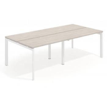 Work Trio - Mesa bench doble serie Work Trio fondo 123 estructura blanca - Imagen 1