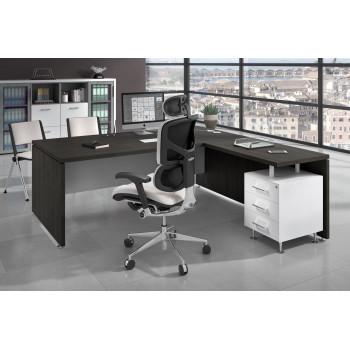 Manager - Mesa de dirección con ala Manager corrida y buc 3 cajones estructura blanca - Imagen 2