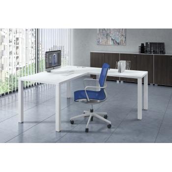 Quadra - Mesa de oficina Quadra con ala estructura estructura blanca - Imagen 2