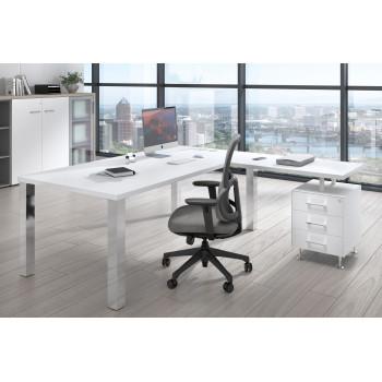 Quadra - Mesa de despacho en L Quadra con cajonera estructura cromo - Imagen 2