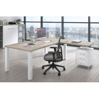 Quadra - Mesa de despacho en L Quadra con cajonera estructura blanca - Imagen 2