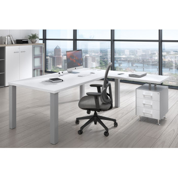 Quadra - Mesa de despacho en L Quadra con cajonera estructura aluminio - Imagen 2