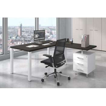 Quadra - Mesa de escritorio en L Quadra con cajonera estructura blanca - Imagen 2