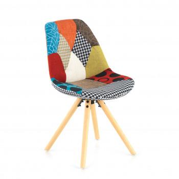 Nordic - Silla confidente Nordic patas de madera, patchwork - Imagen 1