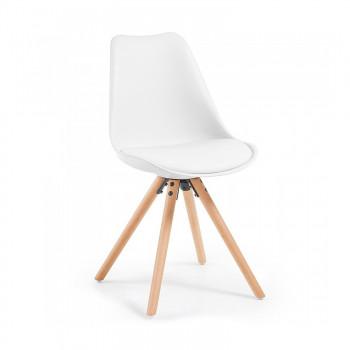 Nordic - Silla confidente de diseño Nordic, patas de madera, Blanco - Imagen 1