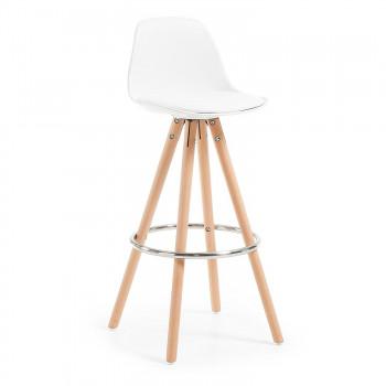 Nordic - Taburete de oficina Nordic, madera maciza, blanco - Imagen 1