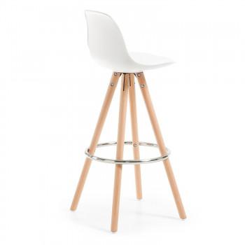 Nordic - Taburete de oficina Nordic, madera maciza, blanco - Imagen 2