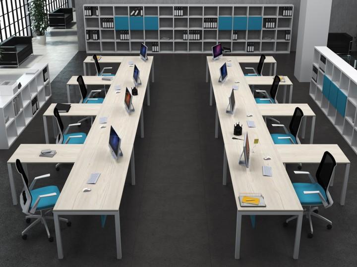 Qué es la ergonomía en el trabajo: conjunto de mesas Kubika