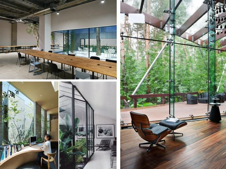 Arquitectura de oficinas modernas naturales
