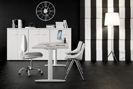 Oficinas en blanco y negro minimalista