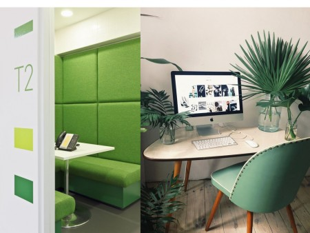 colores verdes para oficinas modernas