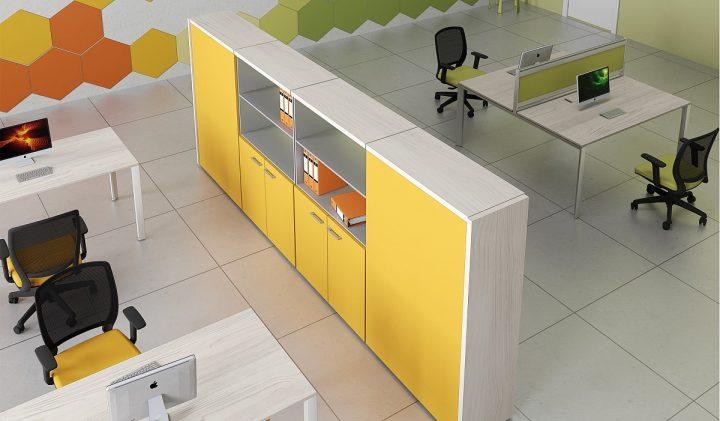 Dividir espacios en una oficina usando armarios