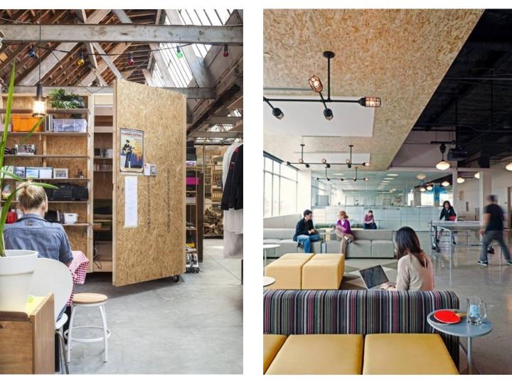 decoracion con paneles de madera OSB en oficinas