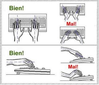 posición de las manos en el teclado ergonómicas