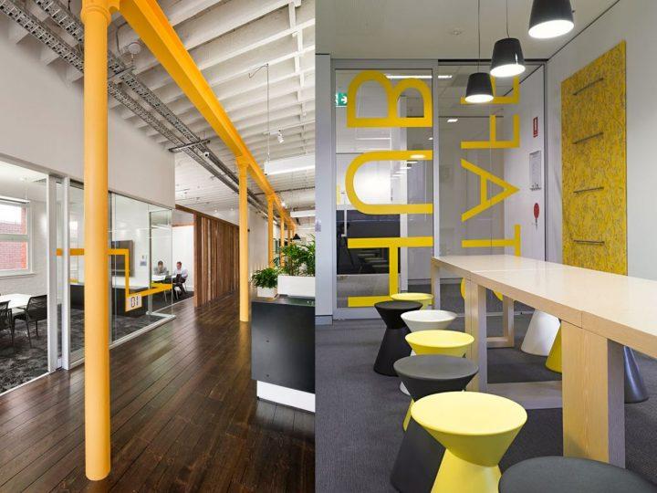 color amarillo en la oficina