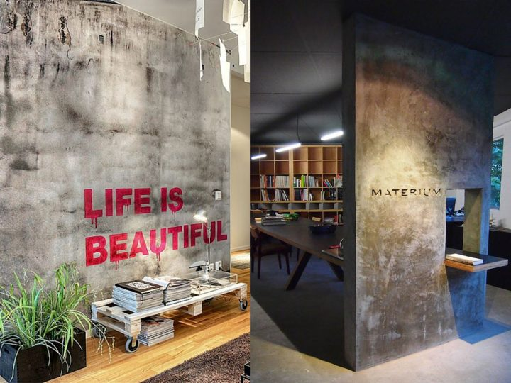 paredes de cemento en oficinas