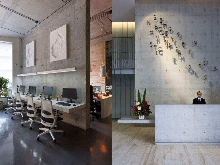 paredes de cemento en la decoración de oficinas