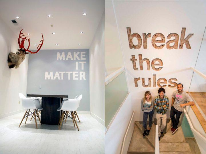mensajes en paredes de oficina
