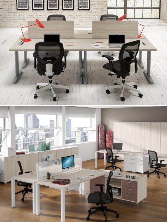 como elegir una mesa de oficina separadores de espacios