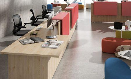 mostrador recepción de oficina diseño